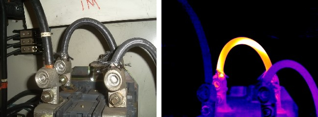 Thermal Image reveals Barber Pole heat signature in electrical wiring