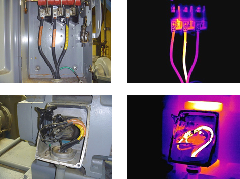 Infrared scan images of motor wiring in tricky case
